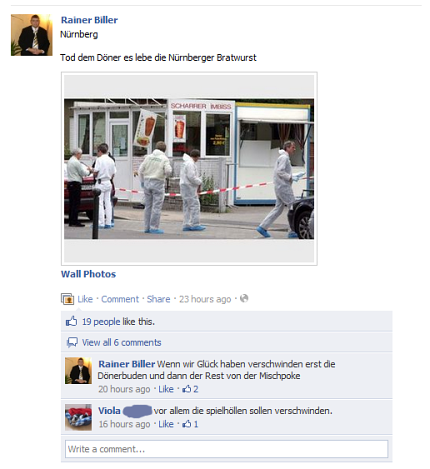 Facebook-Eintrag von Rainer Biller