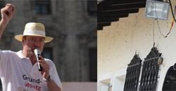 """links: Stürzenberger, rechts: überwachter Eingang """"Braunes Haus"""""""