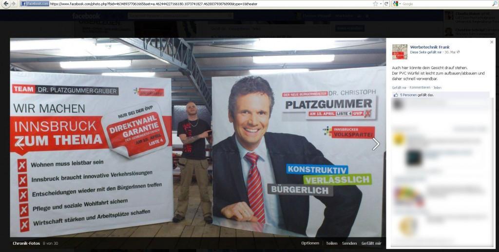 Screenshot Werbetechnik Frank - Harald Frank mit PVC-Würfeln der ÖVP