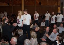 Protestaktion im Saal mit Beginn der Rede von Frauke Petry. Foto: Marcel Bauer