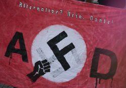 Banner von AfD-Gegnern bei einer Veranstaltung in Amberg. Symbolfoto